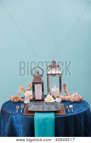 Blue Wedding Reception Table Setting