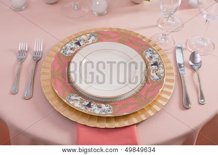 Pretty Pink Reception Table Setting
