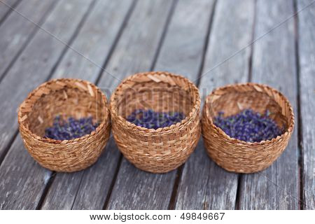 Three Flower Girl Baskets Filled with Lavender