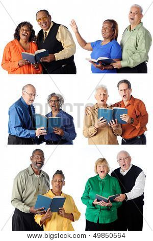 Six individual senior couples all singing from songbooks.  Each one a white background.