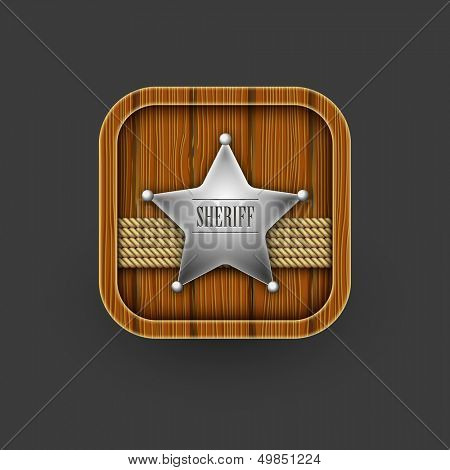 Wooden Sheriff icon. Vector eps 10