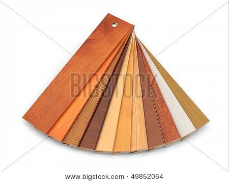 Flooring laminate or parqet samples on white isolated background. 3d
