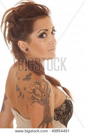 Woman Tattoos Dress Profile Back Side