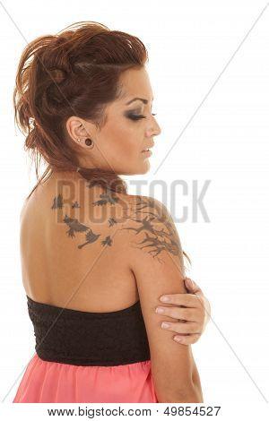 Woman Tattoos Pink Side Look Down