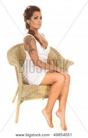 Woman Tattoos Sit Wicker Chair Side Legs
