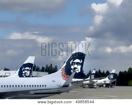 Alaska Airlines Jets in Seattle, Wa.