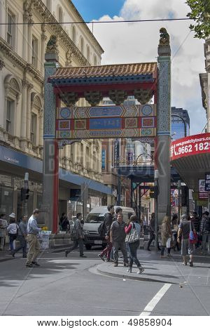 Melbourne, Australia Mar 18Th: Chinatown Gate On 18Th March 2013. Melbourne's Chnatown Was Establish