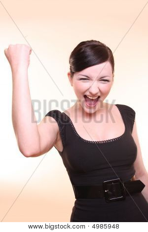 Attractive Succeeding Woman, Light Background