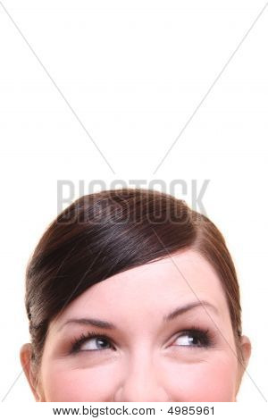 Curious/ Thinking, Smiling Woman On White Background
