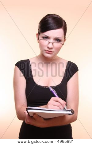 Woman Holdling Notebook And Pen, Note-taking