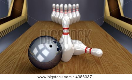 Bowling 3D Sport - Ball And Pins On Lane