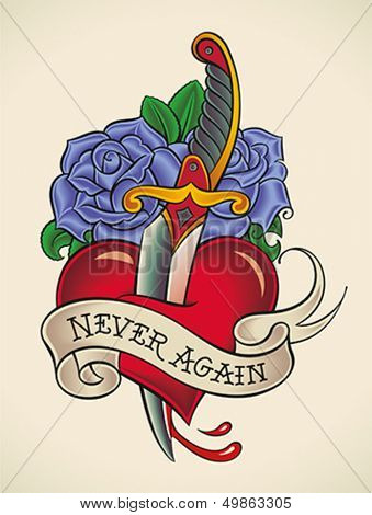 Old-school styled tattoo of a dagger through heart with blue roses on the background. Editable vector illustration.