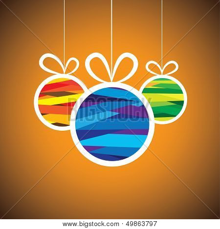 Colorful Xmas Bauble Balls On Orange Background- Vector Graphic