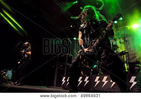 Heavy metal band performs a live concert