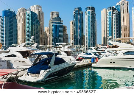 Yacht Club In Dubai Marina. Uae. November 16, 2012