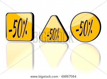 3D Render Of A Warning Discount Symbol On Three Warning Signs