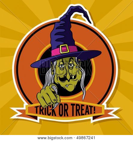 Trick or Treat Emblem - Halloween cartoon poster with a ghastly witch offering to be tricked or treated