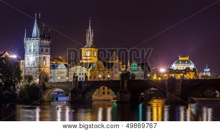 View Of Prague Old Town Behind Charles Bridge - Czech Republic