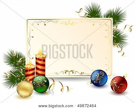 Holiday frame with candle