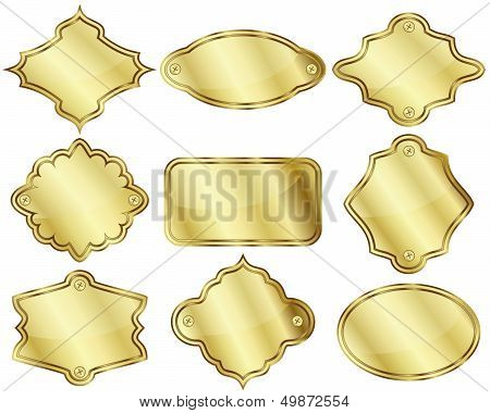 Golden Labels Or Plates