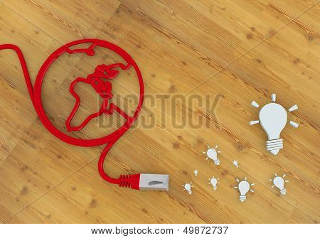 Idea Icon On Network To Home Office Desk