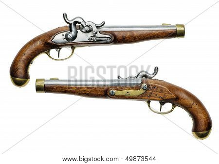 Prussian percussion pistol of 1832 on a white background