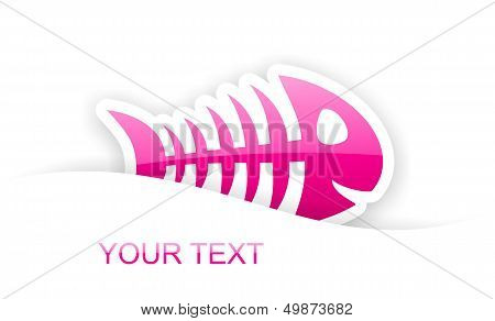 Pink Glossy Fish Bone Sticker Notification