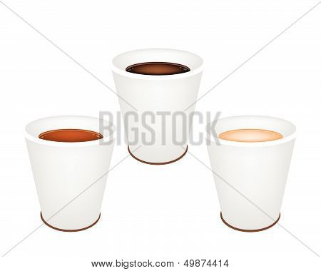 Three Kind Of Coffee In Disposable Cups