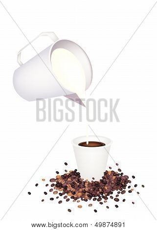 Pour Delicious Hot Coffee By Measure Cup