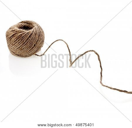 Close up household string rope hank bundle texture, isolated on white