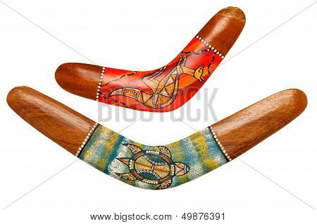 Two Wooden Australian Boomerangs On White