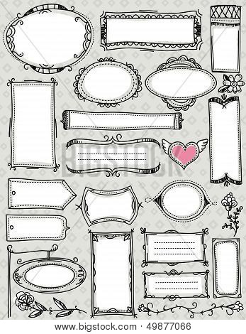 Set Of  Hand Draw Labels And Banners , Vector