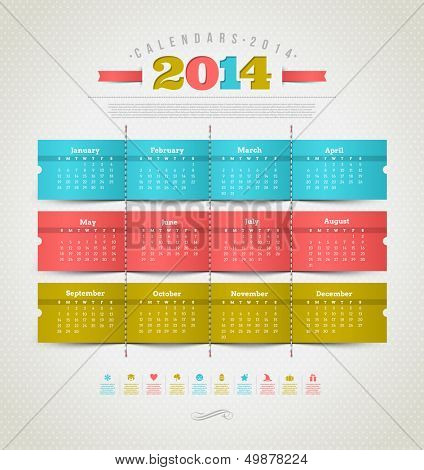 Vector template design - calendar of 2014 with holidays icons