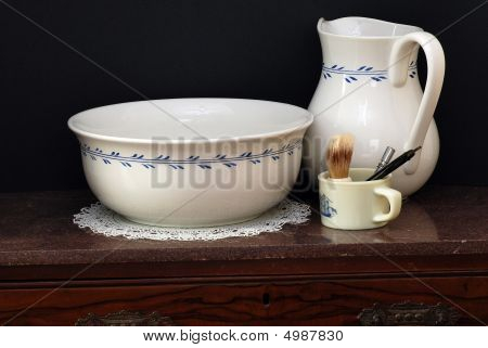 Old Wash Basin, Pitcher And Shaving Mug