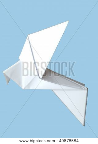 white origami paper bird on a blue background
