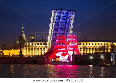 ST.PETERSBURG, RUSSIA - JUNE 24: Celebration Scarlet Sails show during the White Nights Festival, June 24, 2013, St. Petersburg, Russia. From 2010, public attendance grew to 3 million.