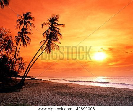 Grafton beach at sunset, Tobago.