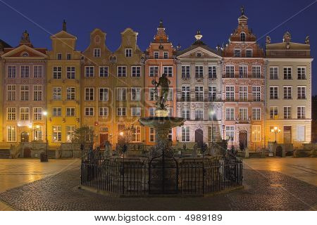 Neptune And Buildings In Gdansk, Poland.