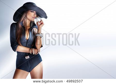 Fashion Photo Of Attractive Girl Smelling Perfume.