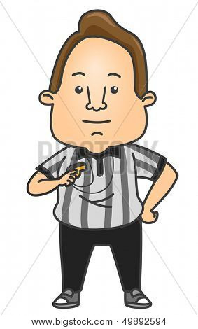 Illustration of a Man Wearing a Referee Uniform Holding a Whistle
