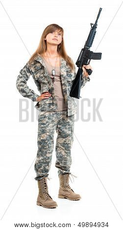 Soldier Young Beautyful Girl Dressed In A Camouflage With A Gun In His Hand On White