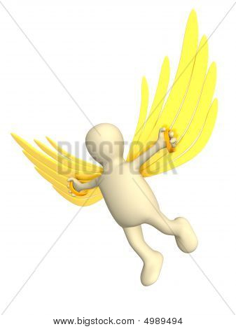 3D Person, Flying On Wings