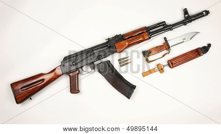 Russian Ak74 Assault Rifle And Bayonet