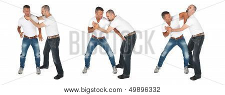 Man Choking Other Man, Series Of Selfdefense
