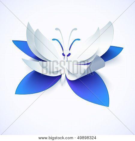Blue paper cutout vector butterfly