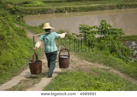 Woman Carrying Water Pails