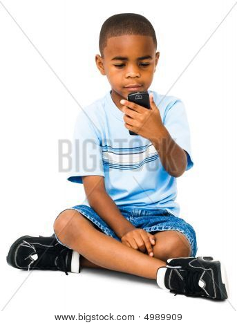 African-american Boy Text Messaging