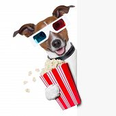 stock photo of jack-in-the-box  - 3d glasses dog with popcorn beside a white banner - JPG