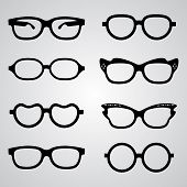 stock photo of black eyes  - Set of vector glasses set with black thick holder retro hipster - JPG