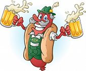 stock photo of lederhosen  - A hotdog bratwurst cartoon character wearing traditional bavarian lederhosen and drinking a large mug of beer - JPG